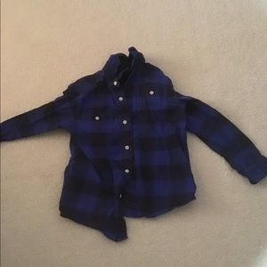 Blue flannel print button up